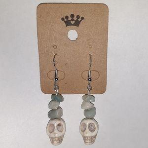 Magnesite Skull+Healing Amazonite Earrings